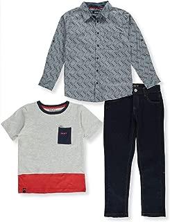 DKNY Boys' Block Print 3-Piece Pants Set Outfit