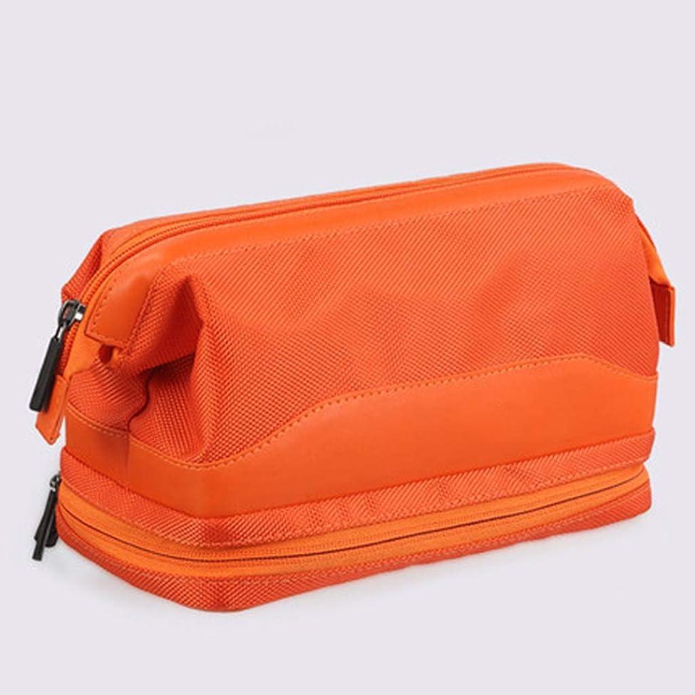 今闇数学的なポータブルウォッシュバッグ男性と女性の旅行大容量防水コスメティックバッグ多機能アウトドアストレージソートバッグ,オレンジ色