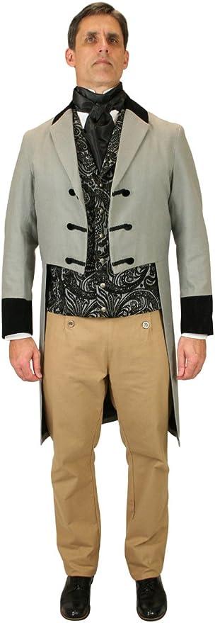 Men's Steampunk Jackets, Coats & Suits Historical Emporium Mens Velvet Trimmed Sovereign Regency Tailcoat  AT vintagedancer.com