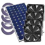 '4Compartiment de serre Ventilateur solaire Ventilateur Plug & Play Ventilateur solaire Serre, 12V, complet