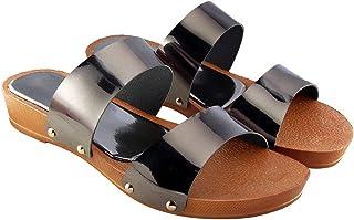 Blinder Womens Fancy Flat Wedge Slippers