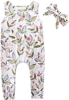 0622eeb9e8ac Oldeagle Newborn Infant Baby Girls Boys Summer Outfit Sleeveless Print  Romper Bodysuit+Headband 2PCs Clothing