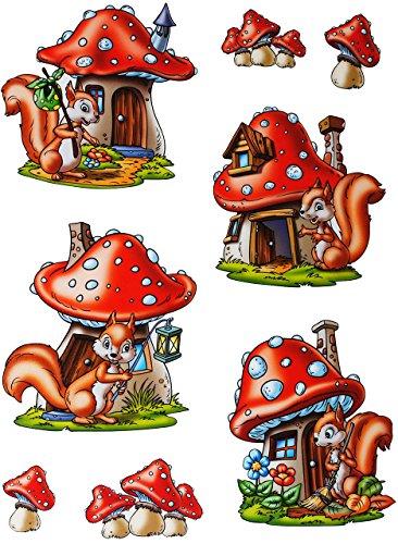 alles-meine.de GmbH 8 TLG. Set _ Fensterbilder -  Eichhörnchen mit Pilz  - Herbst / Blätter - Laubblätter - statisch haftend - selbstklebend + wiederverwendbar / Sticker Fenste..
