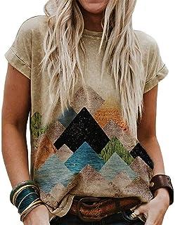 Womens Printed Casual Short Sleeve T-shirt Ladies Summer Loose Blouse Top Tee