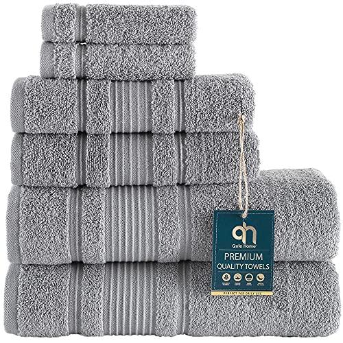 Qute Home 6-Piece Bath Towels Set, 100% Turkish Cotton Premium Quality...