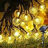 Guirnaldas Luces Exterior Solar, Hatonky 6.5M/21.3FT 30LED 8 Modos Cadena de Bola Cristal Luz, Guirnalda Solar LED Bola de Cristal Luces Decoracion para Navidad Terraza Hogar Jardín Arboles Patio
