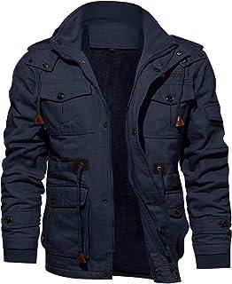 KEFITEVD Vintage jas voor heren, elegant fleecejack met afneembare capuchon, casual outdoorjas