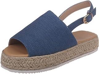 ee0e303c6ea Peigen Womens Platform Ladies Wedge Pumps Straw Thick Bottom Shoes Ladies  Roman Sandals