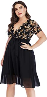Agujat Womens Plus Size Dresses Summer Half Sleeves V-Neckline Lace Top Cocktail Formal Wedding Party Swing Dress