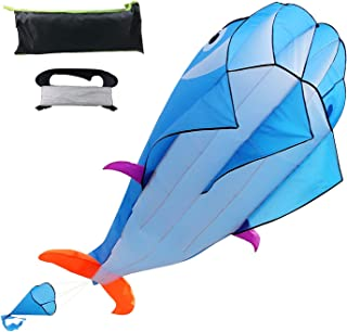 Kite 3D Dolphin Kite for Kids Parafoil Kites for Boys Girls Adult Huge Kite Easy Fly Kite for Toddlers on Beach Games Large Whale Kite Beach Kite Kit 122 Inch Long 3937 Inch Kite String with Reel
