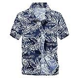 -TERA Dream- アロハシャツ メンズ 半袖 ハワイ風 プリントシャツ 通気速乾 軽量 花柄シャツ ビーチ ウェディング ウエア オシャレ 春 夏 シャツ フラワー おしゃれ リゾート 気分 シルエット ヤシ ヤシの木 ヤシの葉 ヤシの葉っぱ ポリエステル バイカラー シンプル おとなしい カジュアル さわやか 大きいサイズ TR0240 (XL, 紺色葉)