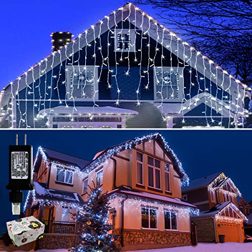 Icicle Lights Outdoor Christmas Lights 400 LED String Lights Curtain Fairy Light with 75 Drops, 33ft 8 Modes Decor for Christmas Thanksgiving Halloween, Cool White