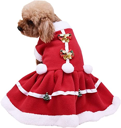 Glamour Girlz SMALL DOG BREED ONLY Cat Festive Christmas Red Santa Claus Warm Winter Girl Boy Jumper Coat Outfit Costume Fleece XS