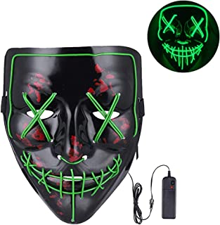 Vos Risus Halloween Mask LED Light Up Purge Mask for Festival Cosplay Halloween Parties