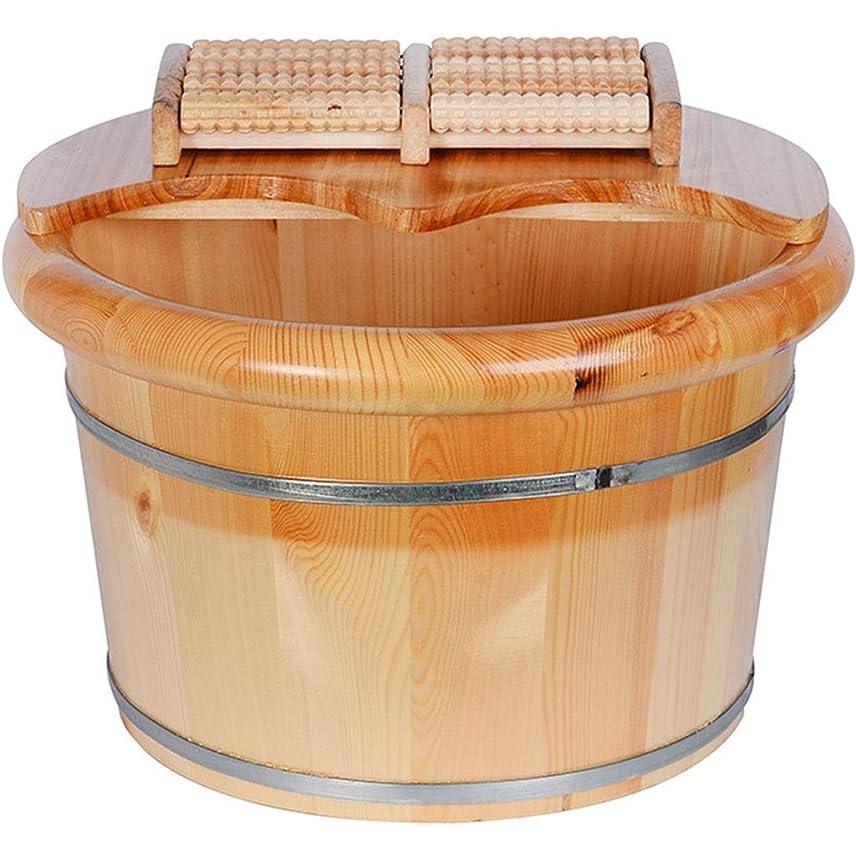 入口女王スリム足湯器 フットバス足湯、家庭用足バスは盆地、疲労を和らげる、環境に優しい素材、フットマッサージ足湯を浸します (Color : Brown, Size : 25cm)