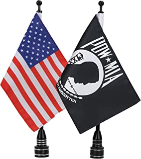 "E-Most Adjustable 6"" x 9"" American Flag + Flagpole Mount & 6"" x 9"" POW MIA You are Not Forgotten Flag + Pole Mount, for Harley Davidson Honda Goldwing CB VTX CBR Yamaha"