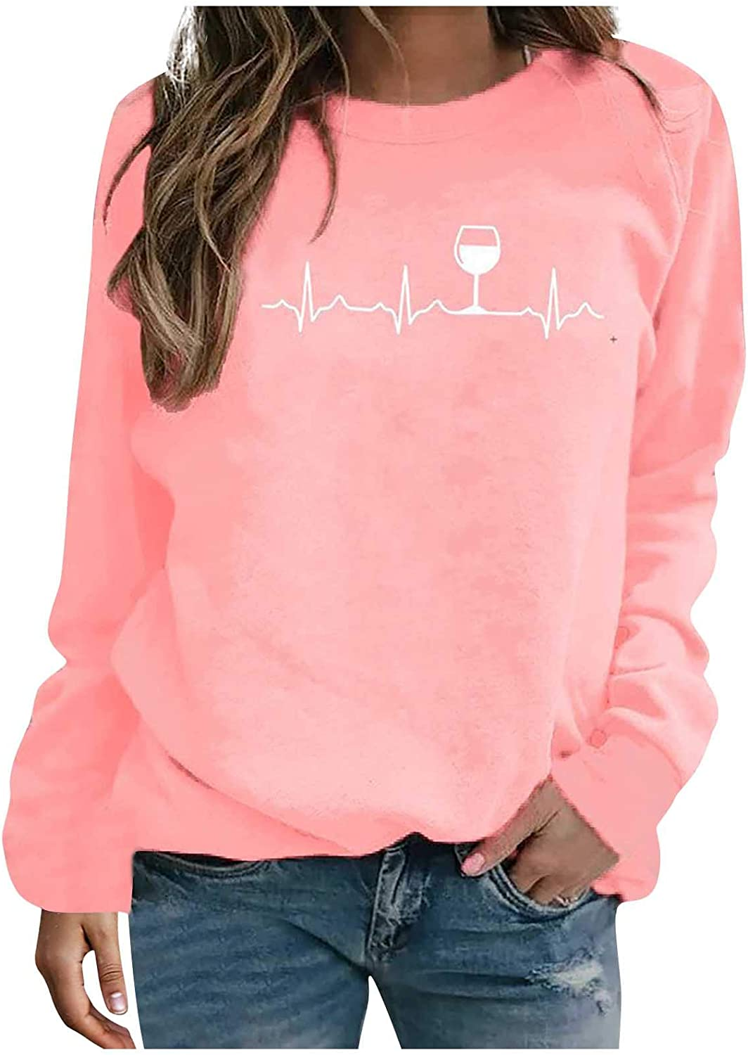 SSZZoo Women's Fashion Long Sleeve Printed Sweatershirt Loose Blouse Tops