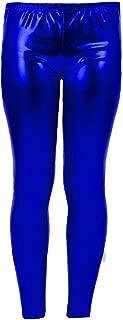 Women Metallic Leggings Foil Wet Look Shiny Ladies Pant Disco Party Club Legging#(Royal Blue Metallic Shiny Legging#UK 12#Womens)