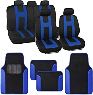 BDK Combo Sport Accent Car Seat Covers (2 Front 1 Bench) Auto Carpet Floor Mats (4 Set) with Heavy Protection Sleek Graphic Two Tone Fresh Design All Protective - Blue Accent
