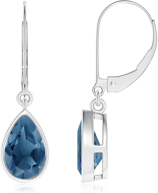 November Birthstone - Bezel-Set Pear London Blue Topaz Leverback Drop Earrings (8x5mm London Blue Topaz)