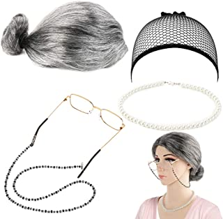 FANTESI 5 Piezas de Peluca de Abuelita Old Lady, Gorra de Peluca, Gafas Madea Granny, Cadenas de Gafas, Accesorios de Perlas para Vestir