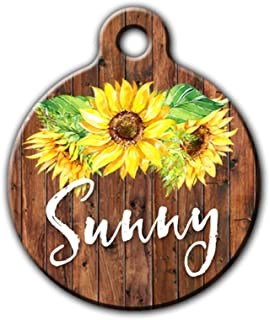 Sunflower pet tag, Cute pet id tag, Summer pet tag, Floral pet tag, Personalized aluminum pet id tag