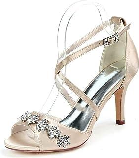 صنادل زفاف CCBubble ذات الكعب العالي من الكريستال للعروس مفتوحة من الأمام بشريط متقاطع أحذية فساتين حفلات الصيف 9920-42