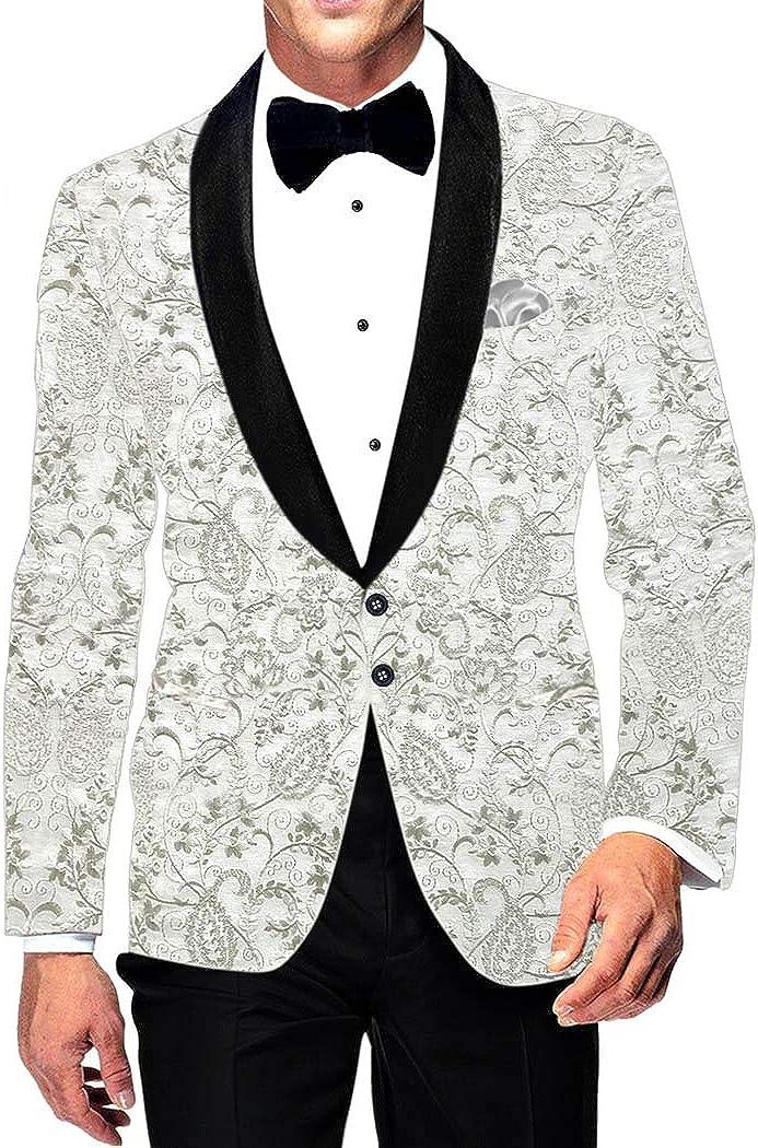INMONARCH White Embroidered Slim Fit Mens Shawl Collar Blazer Sport Jacket SBM1084