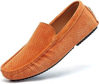 XFQ Chaussures en Cuir Simple d'homme, Slip-on Conduite De Souliers Simple D'été À Tête Ronde Souple en Bas Mocassins Pont...