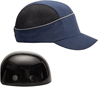 Safety Bump Cap with With Reflective Stripes, Lightweight and Breathable Hard Hat Head Protection Cap(Short,Blue)
