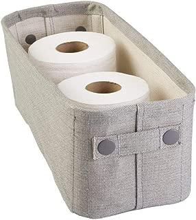 mDesign Cotton Fabric Bathroom Storage Bin for Magazines, Toilet Paper, Bath Towels - Small, Light Gray