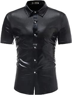 Men's Fashion Metallic Shiny Nightclub Short Sleeves Dress Shirts Tops JZA361