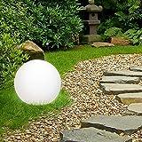 ML-Design Kugelleuchte Ø 20 cm Weiß,mit LED E27 7W, LED Gartenleuchte mit Erdspieße, IP65 spritzwassergeschützt, Kugellampe Gartenkugel Gartenlampe Gartenbeleuchtung Außenleuchte, für Innen/Außen