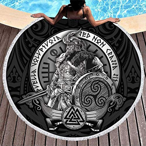 AEMAPE Viking Odin Toalla de Playa Redonda Grande Toalla de baño de Microfibra Manta de Playa Ultra Suave de Secado rápido con Flecos Tiro de Playa para Viajes Piscina Blanca 59 Pulgadas