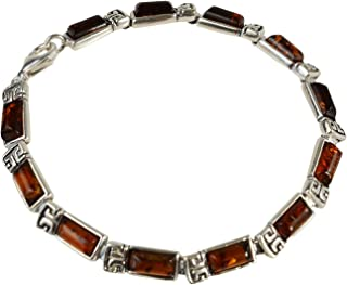 Sterling Silver and Baltic Honey Amber Bracelet Petra