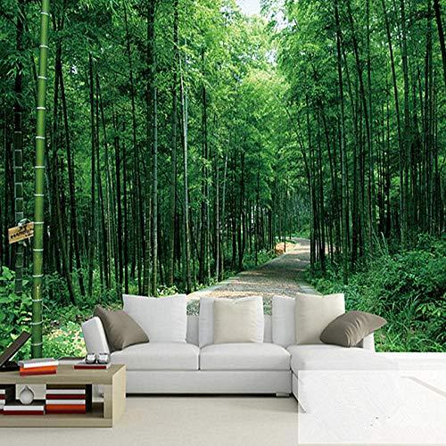 Fotobehang Non-Woven Art Print Muurschildering Poster Beeld Chinese Stijl Groen Bamboe Bos Landschap voor Woonkamer Slaapkamer TV Achtergrond Muur 157.48x110.23 inch