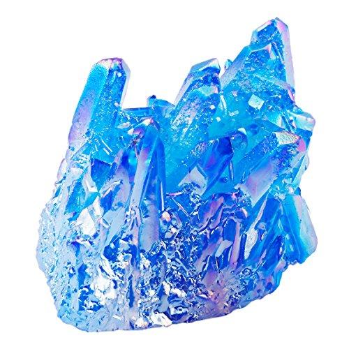 SUNYIK Blue Titanium Coated Crystal Cluster,Quartz Drusy Geode Gemstone Specimen(0.2-0.3lb)