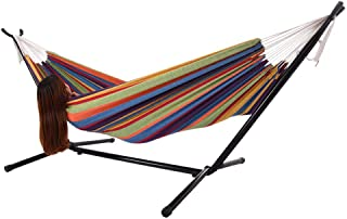 Iron Frame Wide Solid Hammock,MKLEKYY Camping Hammock,Patio Yard Beach Outdoor Double Hammock,with Space Saving Steel Stand,up to 450 pounds,Includes Portable Carrying Case,Desert Stripe (B)