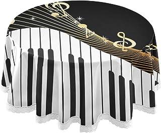 AUUXVA BETTKEN Round Tablecloths Piano Keyboard Music Note 6