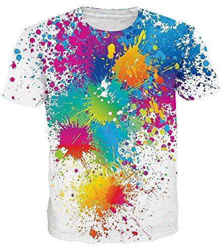Idgretim Frauen Männer 3D Gedruckt Sommer Casual Kurzarm T-Shirts Oansatz Bunte Tees