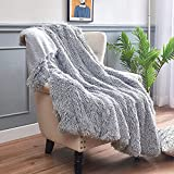 INTSOFT Faux Fur Blanket, Soft Fuzzy Warm Fluffy Plush Cozy Reversible Shaggy Sherpa Decorative Blanket for Bed Chair Sofa Couch, 60 x 80 inch, Light Grey