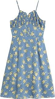 Wujianzzholyq ملابس الشاطئ للنساء، أزياء مثيرة الأزهار طباعة فستان المرأة الصيف أزرار أنيقة حزام عطلة فروكوكس (الحجم: كبير)