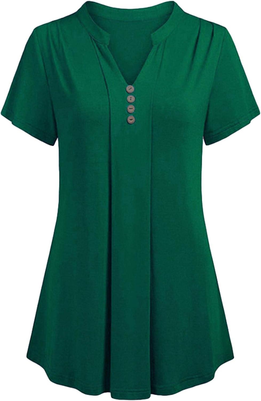 Andongnywell Women's Shirts Short Sleeve V Neck Casual Summer Button Down Tops Blouses Tunics Button Down T-Shirt