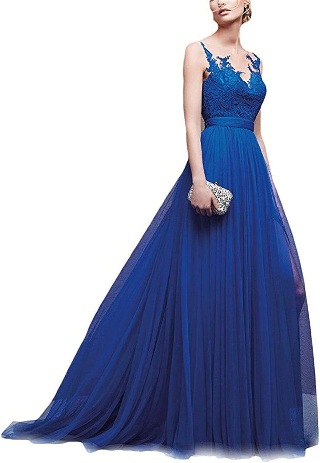 Homdor Elegant Backless Evening Dress with Lace Tulle ALine Formal Women's Prom Dresses