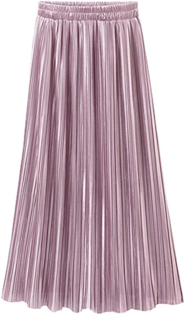 BODOAO Women Vintage Casual Long Pleated Skirt High Waist Skirt