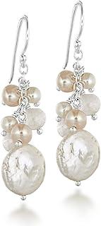 Tuscany 纯银珍珠和玫瑰石英耳坠