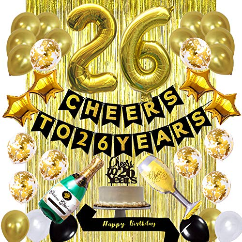 Gold 26th Birthday Decorations kit, Cheers to 26 Years Banner Balloons,26th Cake Topper Birthday Sash, Gold Tinsel Foil Fringe Curtains, for 26 Birthday&Anniversary Decorations