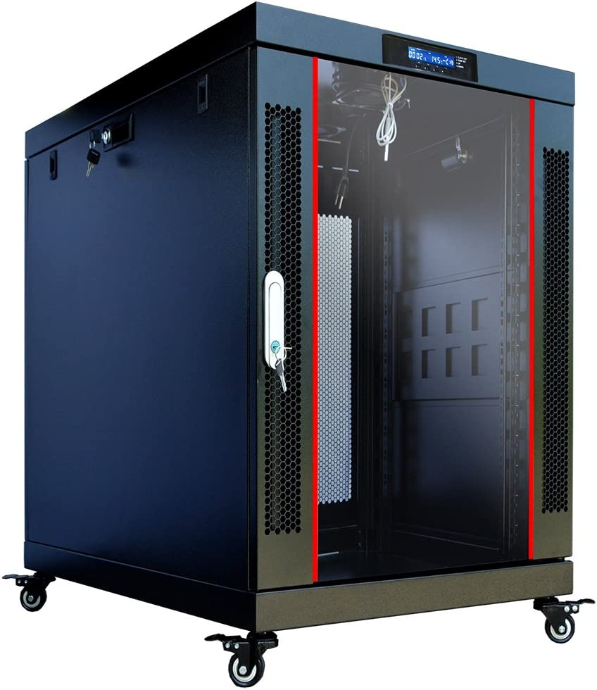 Sysracks 15U 35 inch Deep Server Rack Cabinet It Enclosure - Cooling Fans - LCD Screen - Thermostat - PDU - Casters - 2 Fans – Shelf