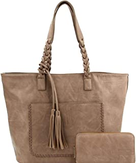 Tassel Accent Braided Strap PU Leather Boho Large Tote Bag and Wallet SET