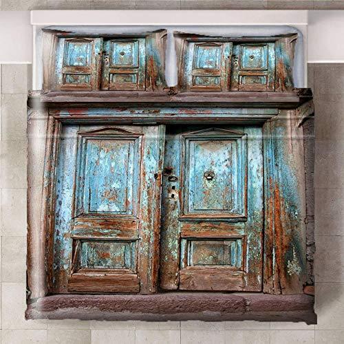 HYBWSO Funda nórdica de 3D Patrón de Puerta de Madera marrón Azul Juego de Cama con Cierre de Cremallera,Funda de edredón de 100% poliéster Suave 240xmx220cm